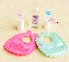 1:12 Dollhouse Miniature Toy baby milk bottle bib Shower gel 5 pcs