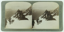 Underwood Stereoview of Climbers Ascending Mount Blanc in the French Alps 1901