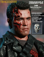 Ready! Hot Toys 1/6 DX13 Terminator T2 T-800 Battle Damaged Special T1000 Head