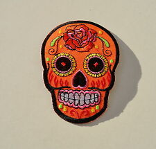Sugar Skull,Orange,Patch,Aufnäher,Aufbügler,Dia De Los Muertos,Mexico