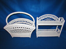 VTG WICKER 2 TIER SHELF SHABBY COTTAGE TABLE TOP/WALL W MAGAZINE/KNITTING RACK