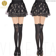 CUTE KITTEN TATTOO TIGHTS - Animal Cat Tail Knee High Stocking Hosiery Pantyhose