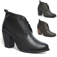Ladies Womens Block Heel Lace Up Chelsea Ankle Pixie Booties Boots Shoe Size 3-8