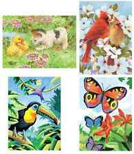 4 x A5 COLOUR PENCIL BY NUMBERS KITS BIRDS & BUTTERFLY, KITTEN CPNMIN102/3/13/14