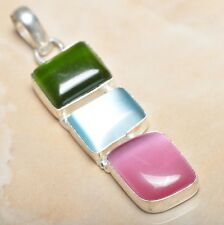 "Handmade Sparkling Dichroic Glass 925 Sterling Silver Pendant 2.25"" #P10507"