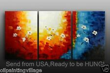 """Framed oil painting 3PC/set 72x36""""H hand painted Canvas - Ready For Hung"""