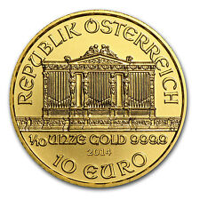 2014 1/10 oz Gold Austrian Philharmonic Coin - Brilliant Uncirculated -SKU#79047