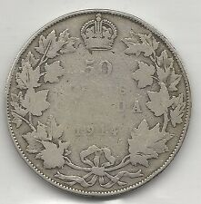 CANADA,  1914,  50 CENTS,  SILVER, KM#25, GOOD-VERY GOOD