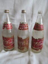 Lot-3 Vintage Coca Cola Glass Bottle Foil Label Twist Cap 70's Coke 28 Fl. Oz.