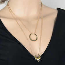 Boho Womens Vintage Gold Plated Crescent Arrow Sword Pendant Layers Necklace