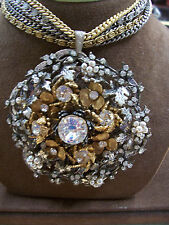 Huge Miriam Haskell Pendant on 5-Chain Necklace-Rhinestone/Seed Pearl/2-Tone