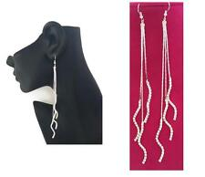 LoNg Snake Chain Dangle Drop Earrings with Diamante Tassels in silver tone
