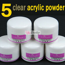 5Pc Clear Acrylic Powder for Acrylic liquid Nail Art Fasle Crystal Tip Tool Set
