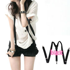 Casual Womens Clip-on Suspenders Elastic Y-Shape Adjustable Braces Black Fashion