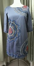 Monsoon Embroidered Grey Cotton Shift Dress - Size 12UK EXCELLENT CONDITION