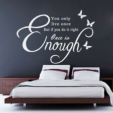You only live once Art Vinyl Quote Decal Mural Room  Home Wall Sticker Decor
