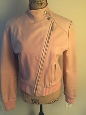 Doma Pink Leather Bomber Moto Jacket Size L Celebrity Style Valentines Day Gift