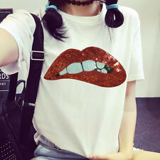 Hotsale Red Lips Fabric Patches Stickers Clothes Decoration Diy Accessories