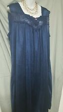 VALENTINE  NAVY BLUE TRICOT CALF  LENGTH BABYDOLL NIGHTGOWN  WOMENS PLUS SIZE 4X