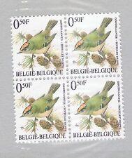 BLOC DE 4x TIMBRES/BELGIQUE**ROITELET HUPPE-LIGUE ROYALE BELGE-OISEAUX-BUZIN
