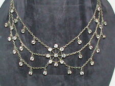 Antique Victorian Edwardian Sterling Silver Paste Necklace