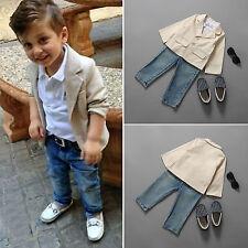 3Pcs Boys Kids Casual Blazer Coat T-shirt Denim Pants Clothes Outfits Suit Set