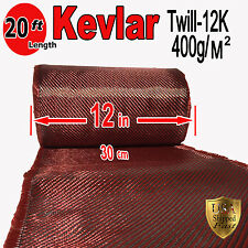 1 Ft x 20 FT - KEVLAR-CARBON FIBER ARAMID ~ Fabric-Twill Weave - 3K/2K-200g/m2