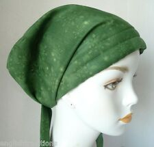 Chemo Cancer Hat Alopecia Hair Loss Head Covering Scarf Turban Green Snowflakes