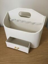 CREMA Faux Leather MAKE UP Storage CADDY CON CASSETTO CON MANIGLIA-NUOVO