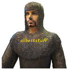 Chain Mail Suit 8mm Flat Riveted Solid Ring Hauberk Coif & Chausses Set