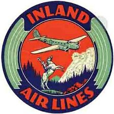 Inland Airlines   Vintage- Looking   Travel Decal/Sticker/Luggage Label