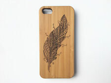 Feather Case for iPhone 6 Plus iPhone 6S Plus Bamboo Wood Cover Wings Tattoo Fly