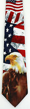 NEW! Bald Eagle on USA American Flag Patriotic Veteran Novelty Necktie  1024