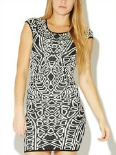 Arden B Cap Sleeve Jacquard Sweater Dress Black White Medium M