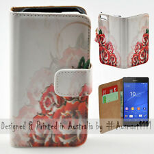 Wallet Phone Case Flip Cover for Sony Ericsson Xperia Z3 - Roses Illustration