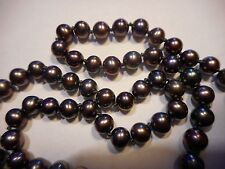 "14K Gold Cultured Peacock Black 6mm Pearl NECKLACE 21.5."" handknotted Vintage"