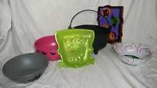 LOt of 5 Halloween Serving Bowls & Trays Kettle Cauldron Eyeball Bowl Frankenste