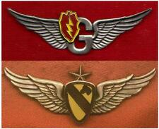 Set of 2 -  25th Division Door Gunner Wings & 1st Cav Army Senior Aviator Wings