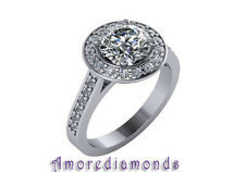 2.03 ct GIA H SI2 natural round diamond halo engagement ring platinum size 5