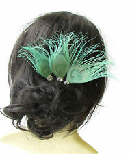 3 x Mint Green Silver Peacock Feather Hair Pins Bridesmaid Headpiece Vtg 1632