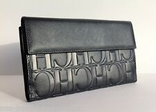 CAROLINA HERRERA Calfskin Leather Embossed CH Monogram Navy Wallet Purse NWT