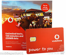 VODAFONE NANO SIM CARD PAY as you go per iPhone 5 5S e iPhone 6 PAYG