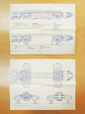 Set 2 Vintage 1979 Space: 1999 Eagle Transporter Blueprints Plans Drawings Art