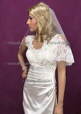 Alencon lace veil with rhinestone comb in waist length diamond silk white bridal