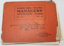 1951 Warner Bros. Theatre Programs Posters * Rare Managers Showmanship Awards