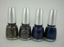 4 x CHINA GLAZE Glitz glitter nail polish 14ml silver black blue purple