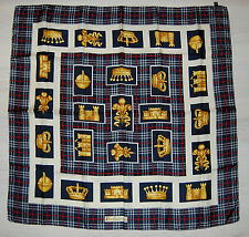 """Authentic BURBERRY Blue Iconic Check Royal Square Silk Scarf 34"""""""