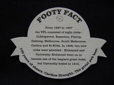 CARLTON DRAUGHT 100 YEARS OF CHEERS 1897 1996 FOOTY FACT 1897 TO 1907 COASTER