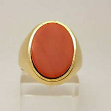 Fabulous 18ct Gold Coral Signet Ring.  Goldmine Jewellers.