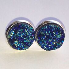 12mm Sparkly Round Druzy Earrings Studs DarkTurquoise
